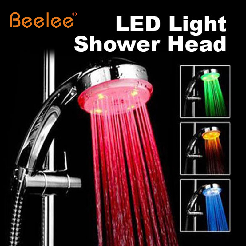beelee 3color changing led light shower head sprinkler automatic control bathroom shower head water saving round