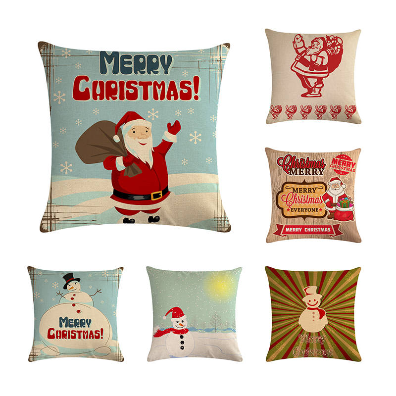 Snowman Cushion Cover Merry Christmas cojines decorativos