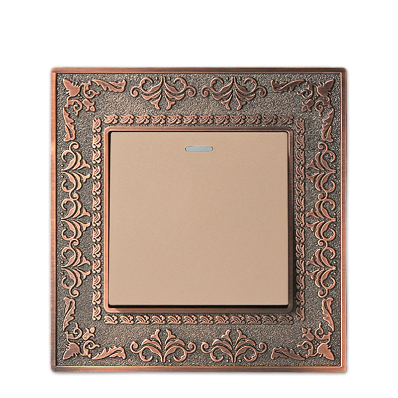 Wall Switch 1 Gang 2 Way, 86 Antique Copper Carved Zinc Alloy Switch Panel, 10A AC110-250V