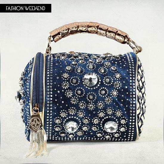 Best Quality Brand Designer Diamond Rhinestone Denim Bags Elegant Luxury Women Jeans Handbags Delicate Tote Tassel Shoulder Bag In Top Handle From