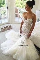 vestidos novias boda Sexy Spaghetti Strap Wedding Dresses Mermaid Style Lace Tulle Bride Dress Zipper Back