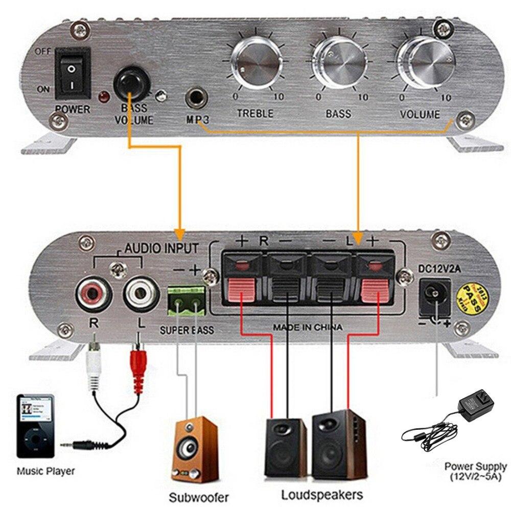 Nuovo 200 W Amplificatore Auto LP-12 V Intelligente Mini Hi-Fi Stereo Amplificatore Audio per Auto A Casa Auto MP3 MP4 Stereo Barca moto