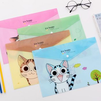 2PCS Kawaii PVC A4 Cheese Cat File Bag  Stationery Bag Korean Style Cute Document Filing Folder Products Office School Supplies 1