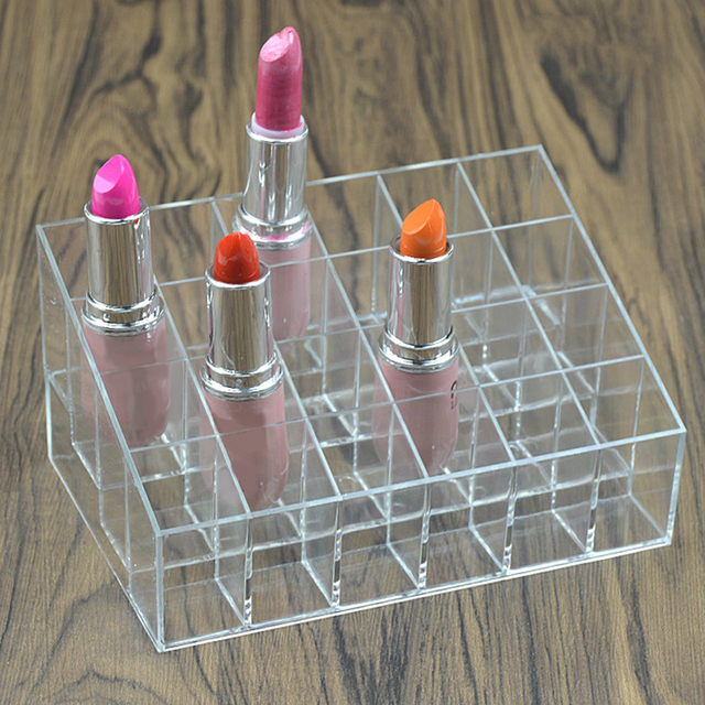 Clear Acrylic 24 Grid Cosmetic Organizer Makeup Case Holder Display Stand Storage Box Lipstick Jewelry Cosmetic Box Make Up Tool