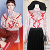 2017 Spring Runway Designer Blouses Women S High Quality Long Sleeve Swan Print Stand Collar Ruffled