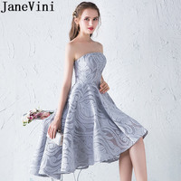JaneVini Cheap Grey Cocktail Dress Short Front Long Back Removeable Cape Robe Coktail Princesse Femme Lace High Low Party Dress