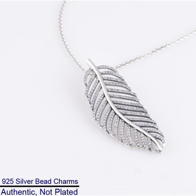100% 925 Sterling Silver Fashion Jewelry Silver Feather Shape Pendant with Clear CZ and Silver Chain for Women Wholesales LW329