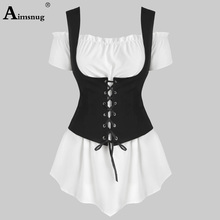 2019 New Women 2 Piece Set Tops and Corset Casual Woman Sets Off the Shoulder T-shirt Drawstring Corsets Slim Fit Twopiece