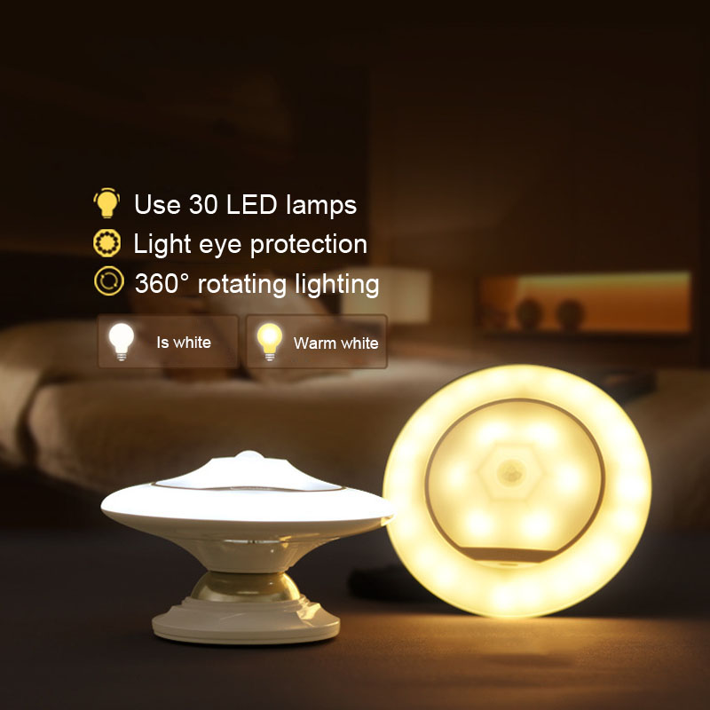 360 Degree Rotary LED Under Cabinet Lights Rechargeable PIR Motion Sensor Wall Closet Lamp Table Lamp --M25