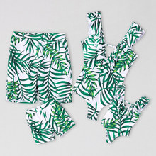 Leaf Swimsuit Family Matching Outfits Look Mother Daughter Swimwear Mommy and Me Bikini Dress Clothes Father Son Swimming Shorts(China)
