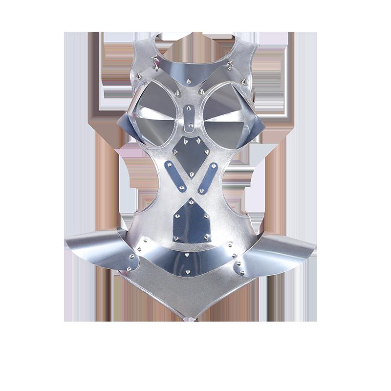 Fashion Dance Costume Silver Bodysuit Women DJ DS Jumpsuit For Singers Performing Wear Pole Dance Gogo Dancer Outfits