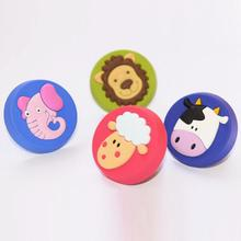 Cute Animal Knobs Soft Rubber Drawer Door Children Room Lion Sheep Pulls Handles Cupboard for Kids