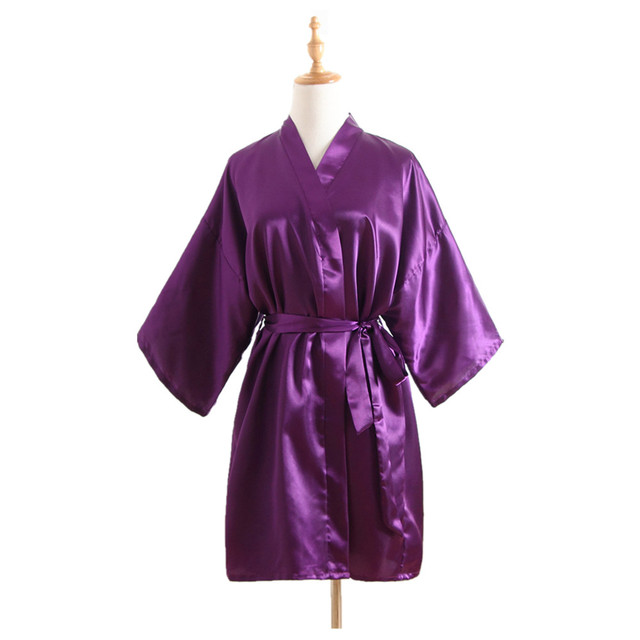 Solid Purple Ladie\'s Short Satin Robe Dressing Gown Women\'s Leisure ...