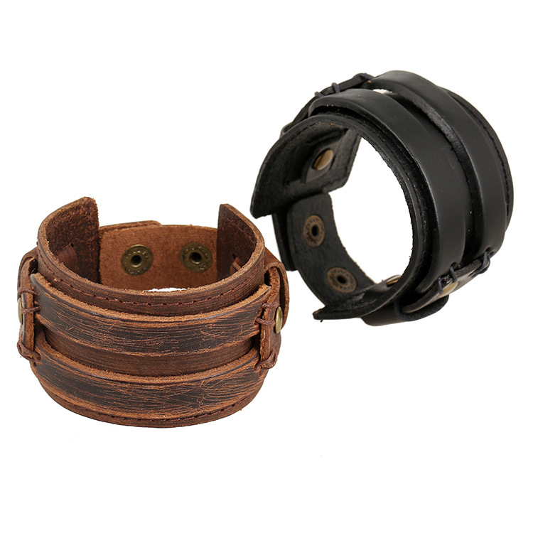 2016 Genuine Armband Leather 100% Cowhide Cuff Bracelets Pulseiras Com Pingentes Brazaletes Pulseras Mujer Braclets For Men