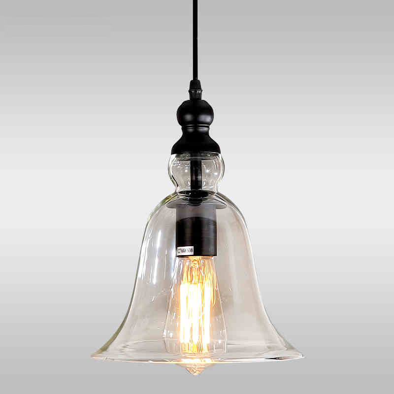 Modern Bell Shape Glass Bell Pendant Light Glass Material
