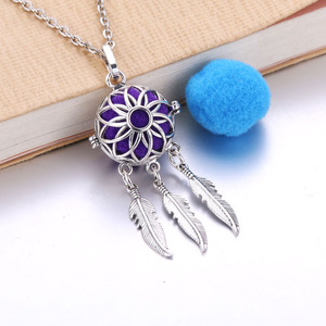 Aroma Diffuser Necklace feather tassel Lockets Pendant Perfume Essential Oil Aromatherapy Locket Necklace With Pads(China)