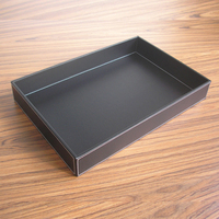 Clear Stock Rectangle PU Leather Tray Tableware Storage Tray For Fruit Food Cup Holder Tray Home Hotel Decoration L Size