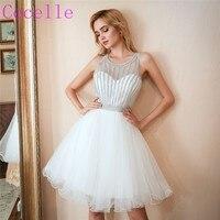 2018 новые белые короткие вечерние платья Sparkly Топ Тюлевая юбка Юниоры неофициальный короткое коктейльное платье Homecoming последние