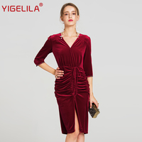 YIGELILA 2017 Latest Autumn Women High Quality Vintage Velvet Sexy V Neck Half Sleeve Slim Split