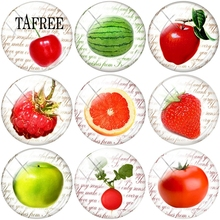 TAFREE Fruits Round Shape Flat Back Beads 25mm Glass Cabochon Cover DIY Ornament For Bracelets Keychains