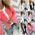 Женская Кардиган Пушистый Свитер сплошной цвет Осенью Новая Мода Куртка outwearn топ