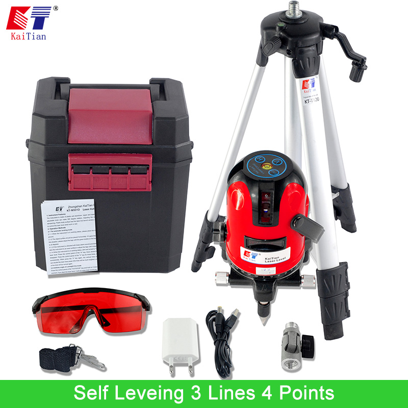 KaiTian Laser Level Tripod with 360 Rotary Outdoor Tilt Function Euro Plug 635nM Self Leveling 3 Lines 4 Points Cross Line Level