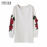 FATIKA Fashion 2017 Women Autumn Winter Knitted Dress O Neck Long Sleeve Rose Embroidery Mini Sweater