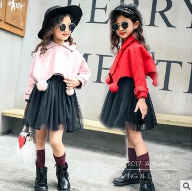 Girls winter and autumn coat 2017 autumn girls coat cool  long-sleeved short section woolen small jacket children's cloak