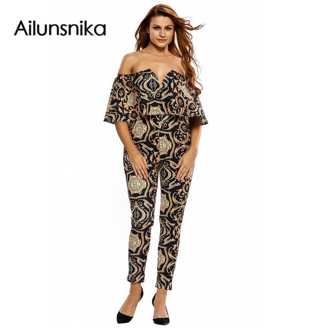 Moda feminina Em Geral 2017 Outono Inverno Preto/Amarelo Branco Tapeçaria Impressão Cinto Fora do Ombro Macacão Rompers DL64197