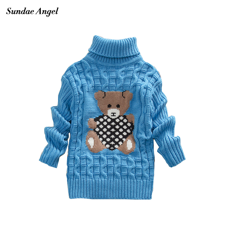 Sundae Angel Casual Boy Girl Sweaters For Kids Long Sleeve Wool Turtleneck Cartoon Pattern Spring Autumn&Winter Girls Sweater turtleneck long high low sweater