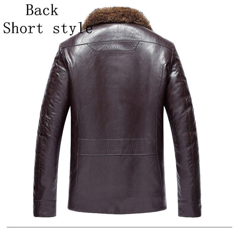 Veste en cuir homme Marque Luxe simili cuir hiver de col