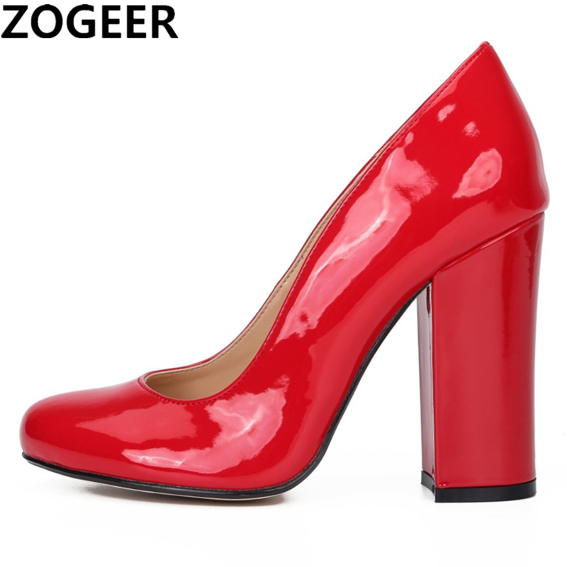 Plus Size 48 Women Pumps Round Toe Patent Leather High Heels Fetish Shoes Sexy Nightclub Evening