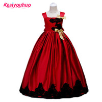 Kids Lace Bow Summer Wedding Party Flower Bridesmaid Dresses For Girls Teenage Ball Gowns Princess Costume
