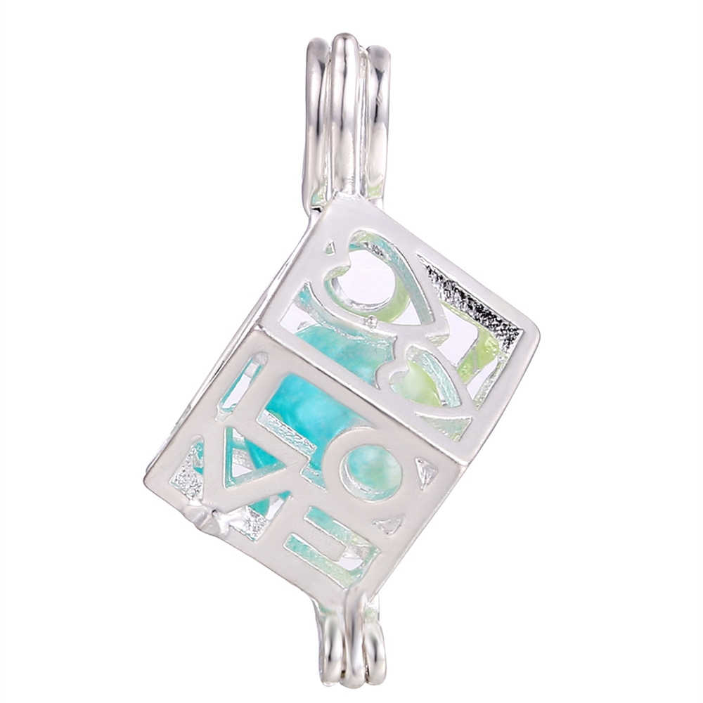 ขายส่ง 10pcs Silver Love Cube กรงไข่มุกลูกปัด Cage Essential Oil Diffuser Charms จี้เครื่องประดับจี้ทำ Oyster Pearl