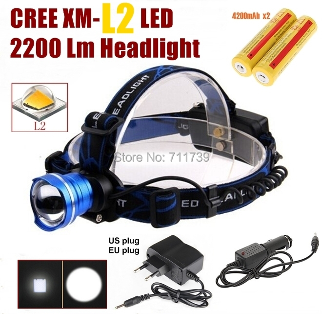 AloneFire HP87 Cree XM-L2 LED 2200LM ZOOM CREE led Headlight Headlamp light +AC Charger/Car charger/ 2x4200mAh 18650 battery - Global outdoor products Co., LTD store