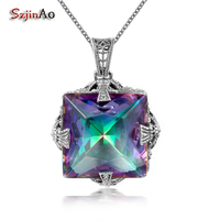 Szjinao June Birthstone Silver 925 Jewelry Necklaces & Pendants Rainbow Topaz Handmade Pendant for Best Friend New Zealand