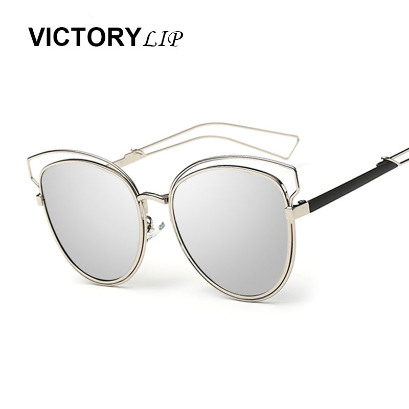 VictoryLip 2016 New Italy Brand Sunglasses Sideral Hollow Temple Women Vintage Cat Eye Miror UV400 Sun Glasses Good Quality