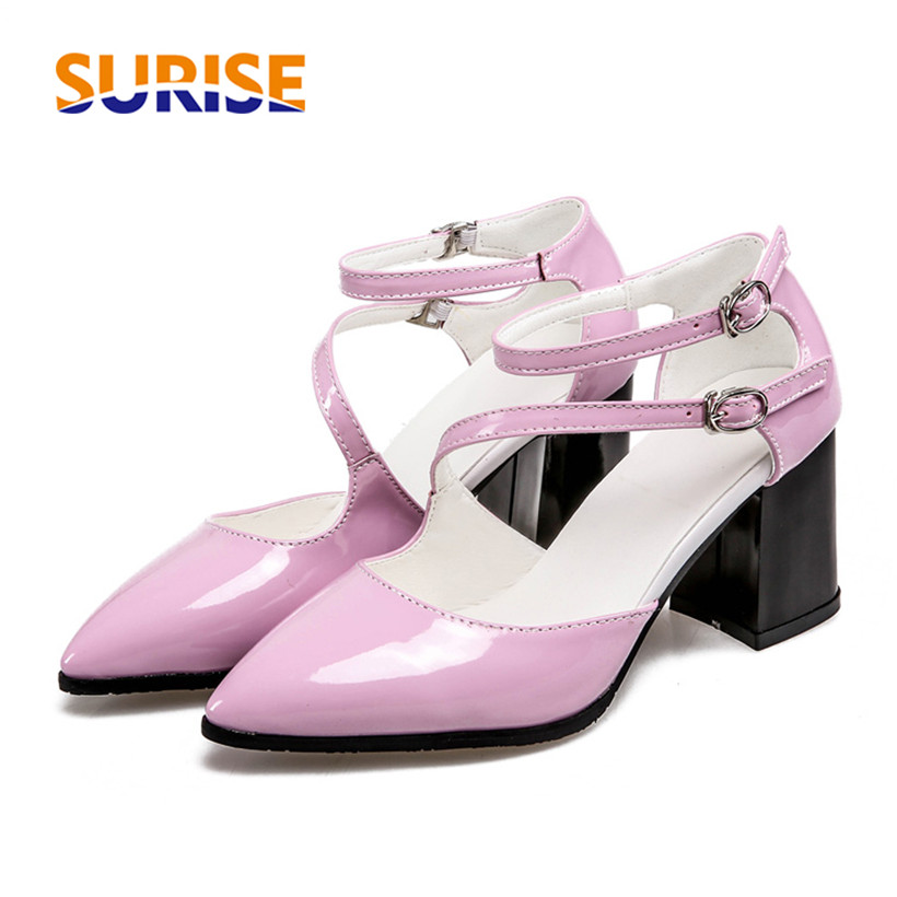 Big Size Summer Women Sandals High Thick Block Heel Patent Leather Pointed Toe Office Party Ankle Cross Strap Cool Ladies Shoes amourplato women s ladies handmade fashion big large size thick block heel closed toe high heel party office pumps chunky shoes