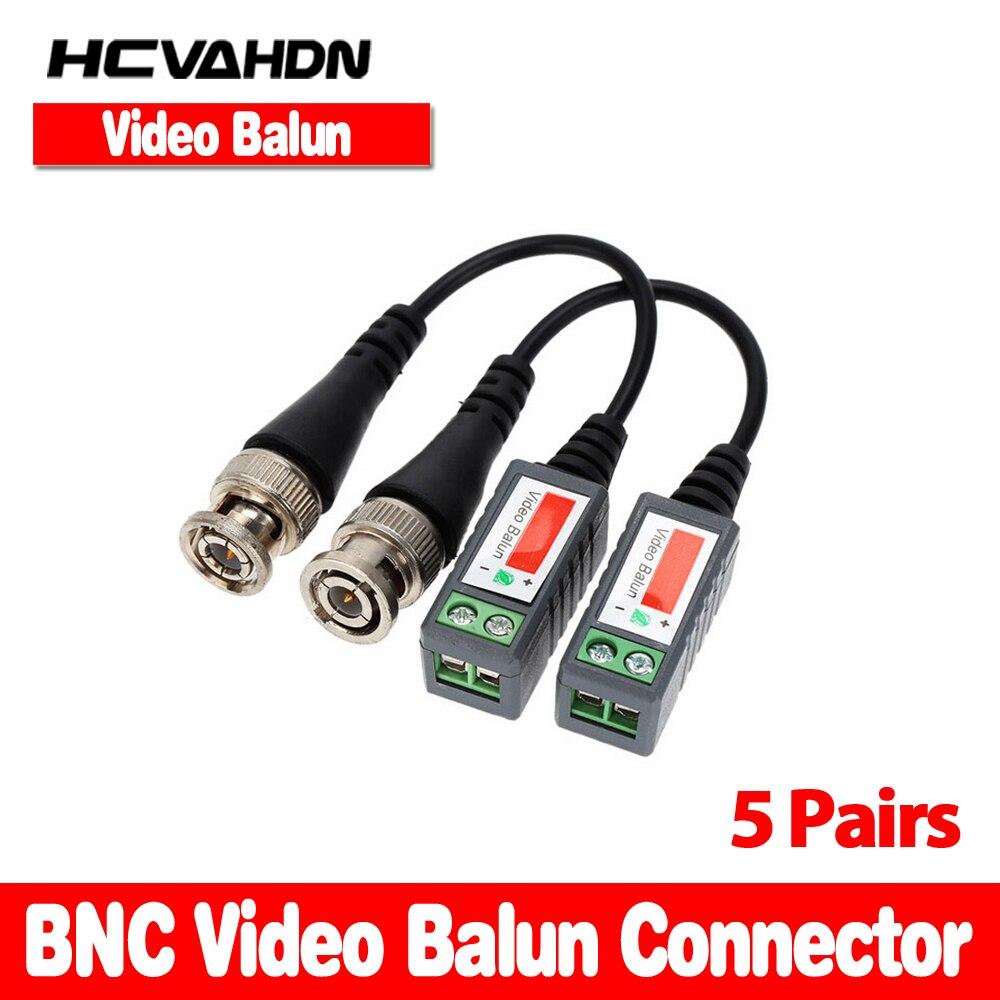 HCVAHDN 10 PCS/5 Paires Caméra CCTV Passif BNC Vidéo Balun UTP Transceiver Connecteur 2000ft Distance Câble Torsadé