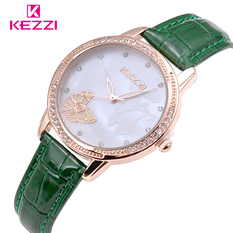 Luxury Brand KEZZI Leather Strap Woman Quartz Watches Creative Inlay Butterfly Dial Shell Surface Waterproof Ladies Watch