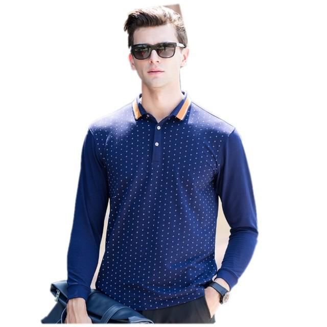 Otoño nuevos hombres de punto de la onda impresión solapa camisa de POLO de manga larga ropa superior sin forro de los viajeros de negocios y de ocio