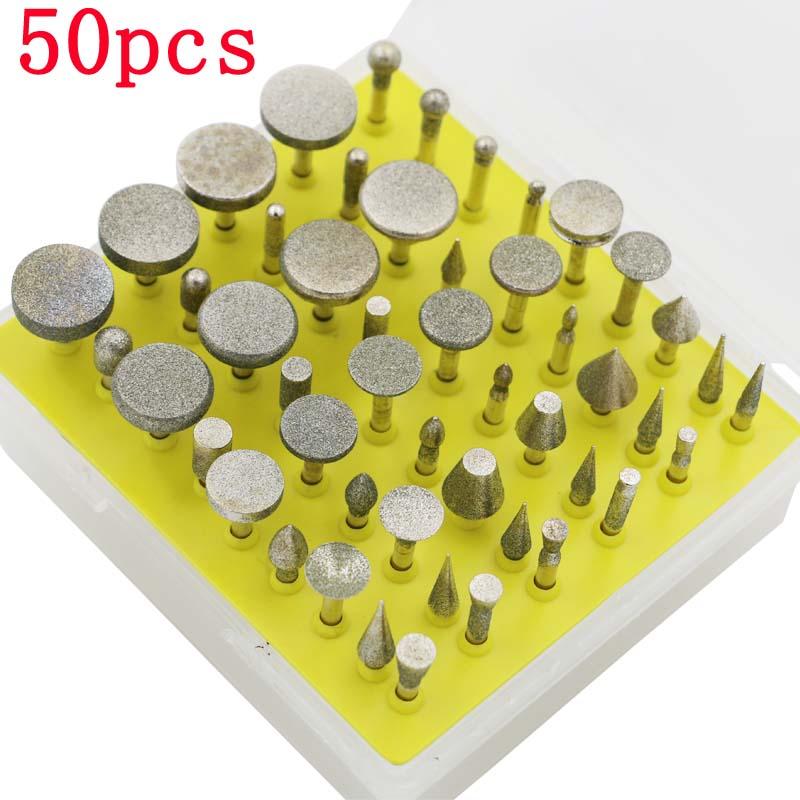 Mini Micro Bits Diamond Core Drill Bit Set pour Polisseuse Poli Polissage Des Exercices Rotary Burr pour Dremel Routeur Verre 50 pcs/ensemble