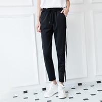 Women's Student Loose Pants 2017 Spring / Fall Fashion Winter Pants Ladies Black Stripe Mid-Pants Mid-Belt Casual Pants