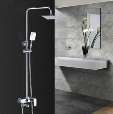 Copper wall mounted bathtub shower faucet chrome, Brass shower faucet ABS shower head, Bathroom rainfall shower faucet mixer tap