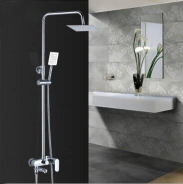 Copper wall mounted bathtub shower faucet chrome, Brass shower faucet ABS shower head, Bathroom rainfall shower faucet mixer tap polished chrome double cross handles wall mounted bathroom clawfoot bathtub tub faucet mixer tap w hand shower atf902