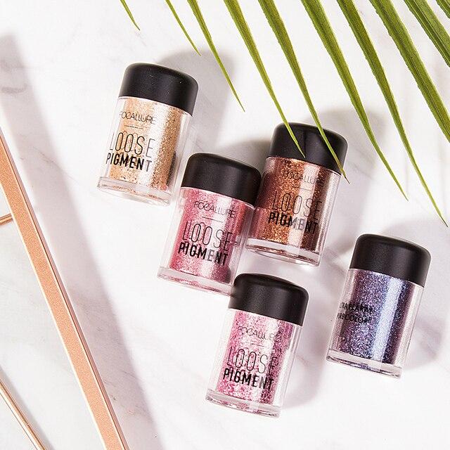 FOCALLURE Glitter Eye Shadow Powder Pigment Easy To Wear Professional Eye Makeup Shimmer Loose Powder Eyeshadow