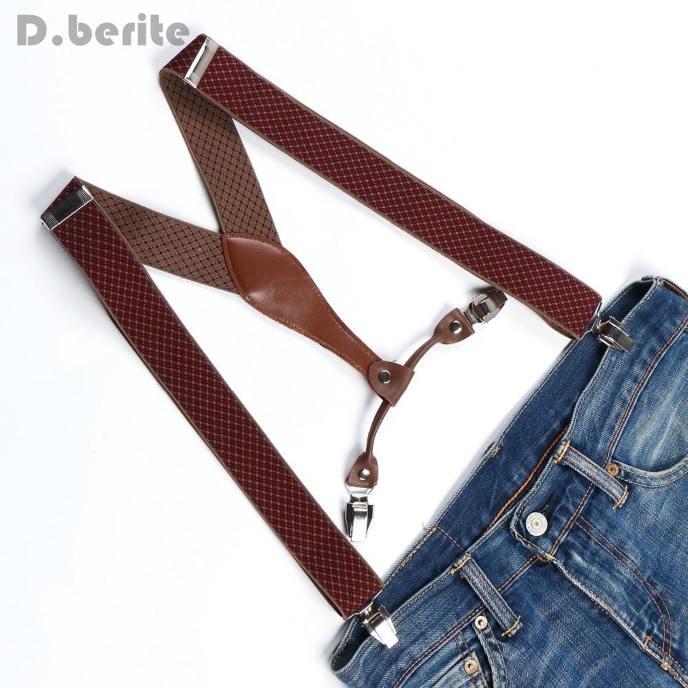 Men's Adjustable Clip On Elastic Suspenders Unisex Plaid Braces 3.5cm Width BD629