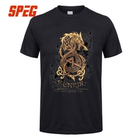 Vintage Top Cotton Tee Viking Valhalla Fenrir The Nordic Monster Wolf Odin Man Round Collar Tee