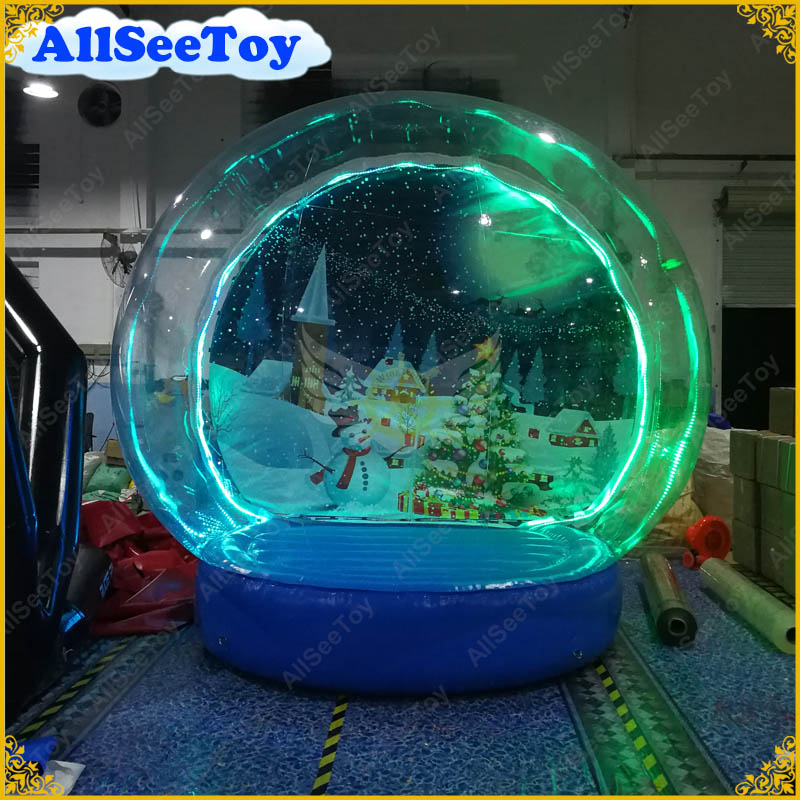 Lighted Giant Inflatable Snow Globe for Christmas Decoration Photo Snow Globe Commercial Quality Human Size Snow Globe