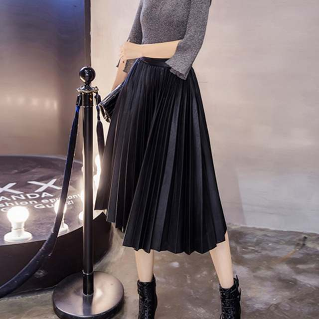 d67046c35 Online Shop Free Shipping New Maxi Long Pleated Women Vintage High Waist PU Leather  Skirt Plus Size | Aliexpress Mobile